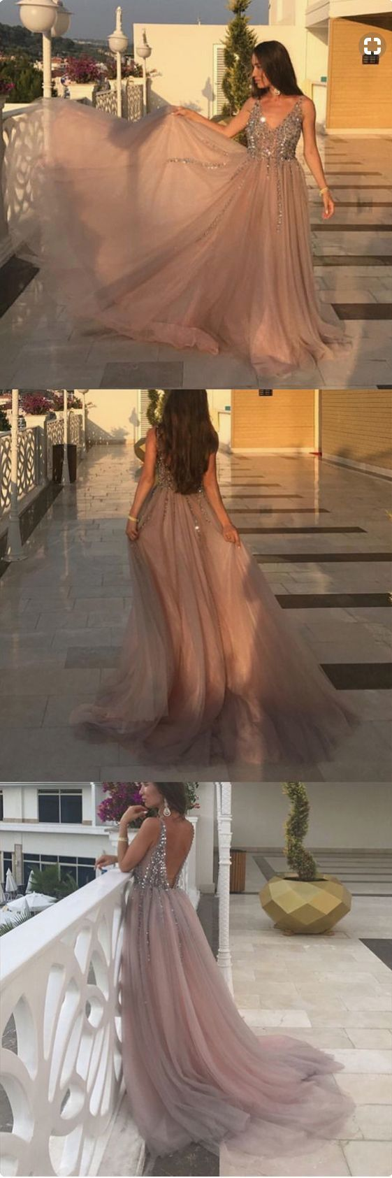 Sexy A-Line V-Neck Prom Dresses,Long Prom Dresses,Cheap Prom Dresses, Evening