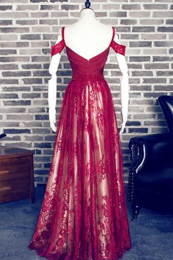 Off Shoulder Dark Red Lace Cheap Long Evening Prom Dresses