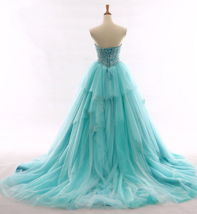 Sky Blue Strapless Prom Dress,Long Prom Dresses,Prom Dresses,Evening Dress,
