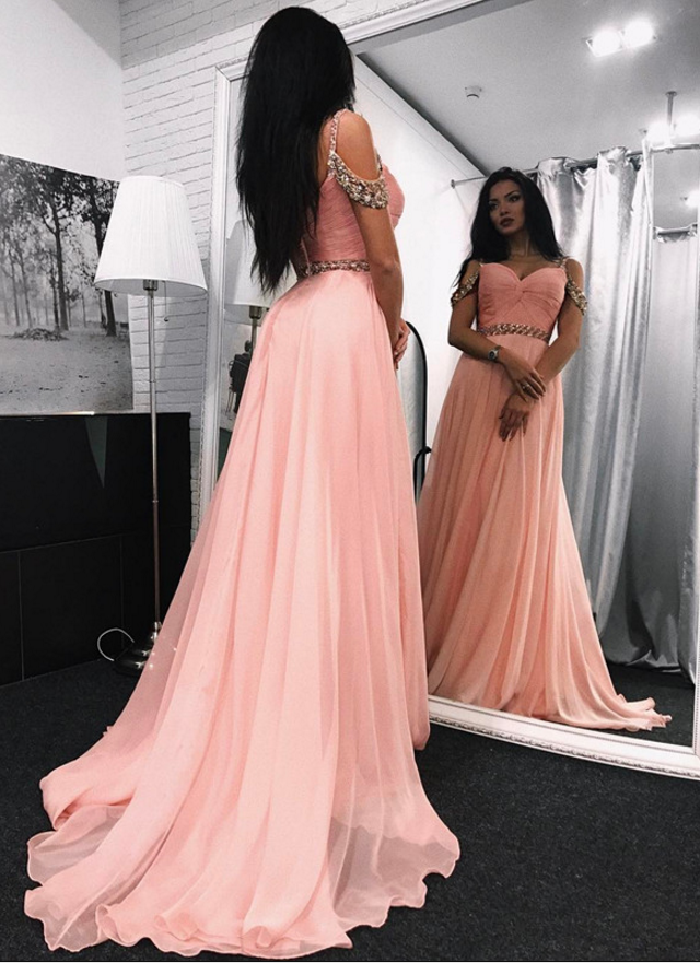 A-Line Beading Elegant Prom Dress,Long Prom Dresses,Prom Dresses,Evening Dress,