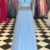 Light Blue Beaded Prom Dress,High Neck Two Piece Prom Dresses,Split Formal