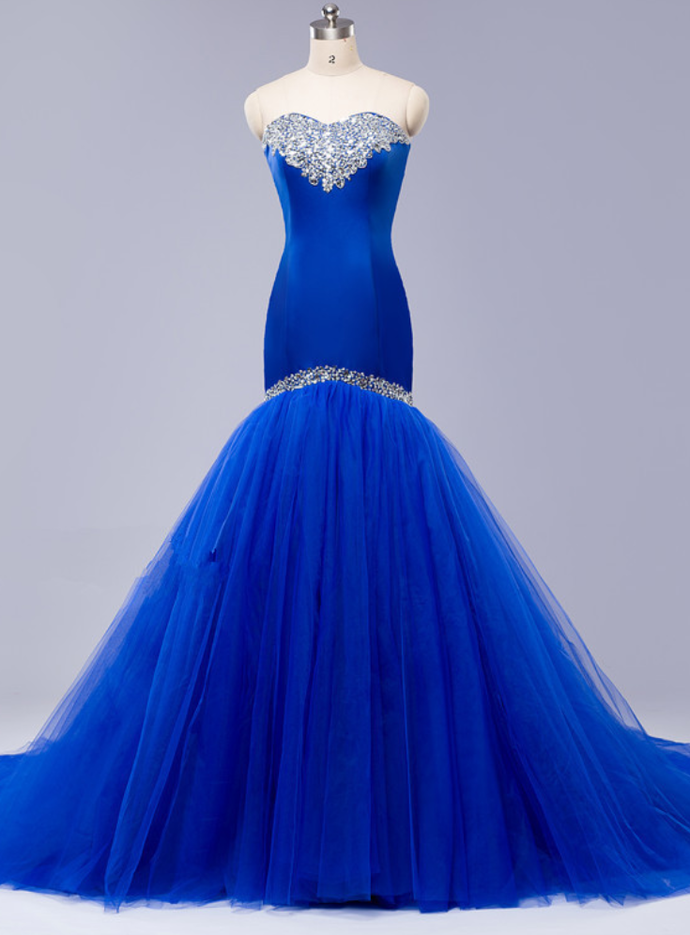 Blue Strapless Sweetheart Beaded Mermaid Long Prom Dress, Evening Dress with