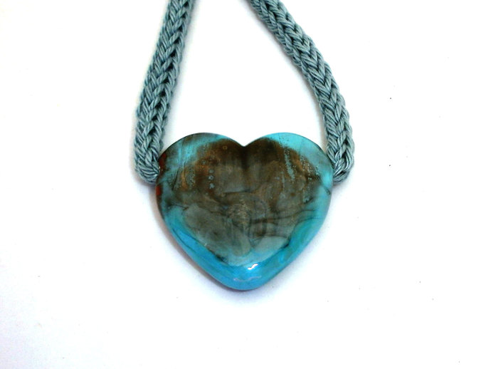 Heart Necklace in Shades of Blue, Lampwork Bead and Cotton Cord Necklace