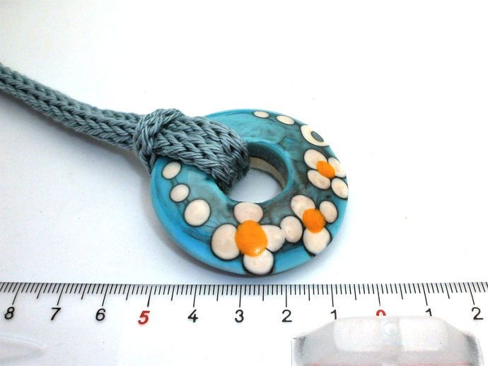 Focal Disc Necklace in Shades of Blue, Lampwork Bead and Cotton Cord Necklace
