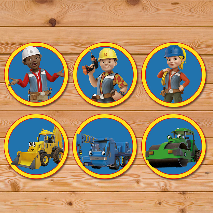 Bob The Builder Cupcake Toppers * Bob The Builder Stickers * Bob The Builder Party Favors * Bob The Builder Birthday Party