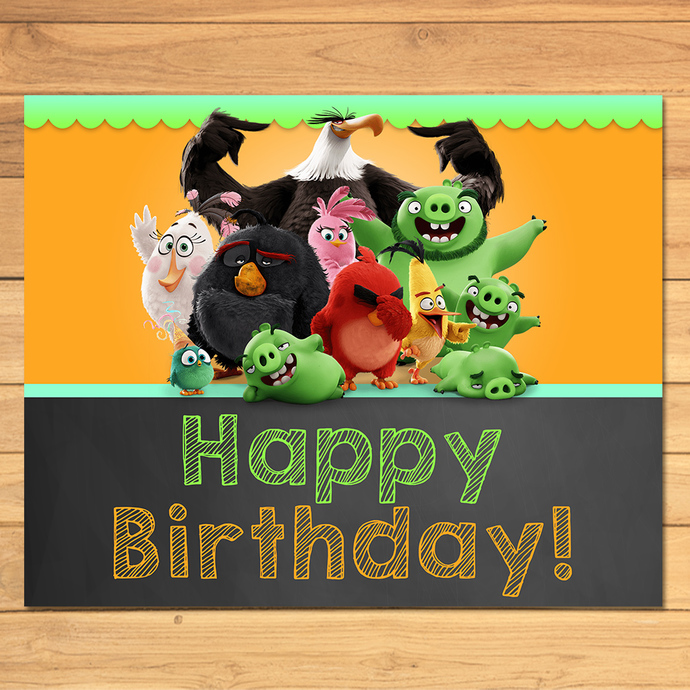 Angry Birds Happy Birthday Sign Chalkboard * Angry Birds Movie Birthday Sign * Angry Birds Birthday * Angry Birds Party Printables