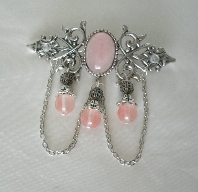 Rose Quartz Brooch, victorian jewelry, cloak pin