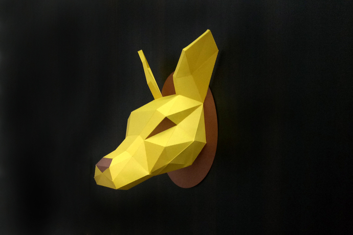 DIY Papercraft Kangaroo Head trophy,Paper by Paperamaze on Zibbet