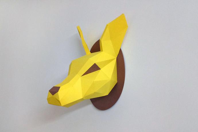 DIY Papercraft Kangaroo Head trophy,Paper trophy,Wall decor,Animal  mask,Lowpoly,Kangaroo papercraft,PDF templates,3d template,Paper model