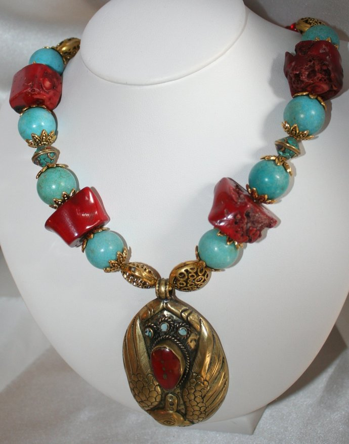 Nepalese Brass Handmade Bird Pendant Statement Necklace, Chunky Red Coral