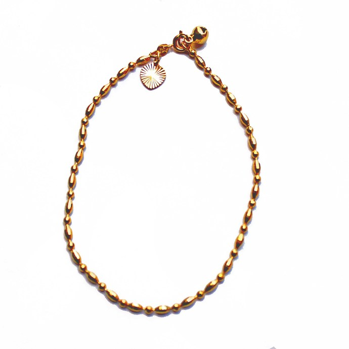 Gold plated anklet chain with heart and tiny bell charms, summer fashion,