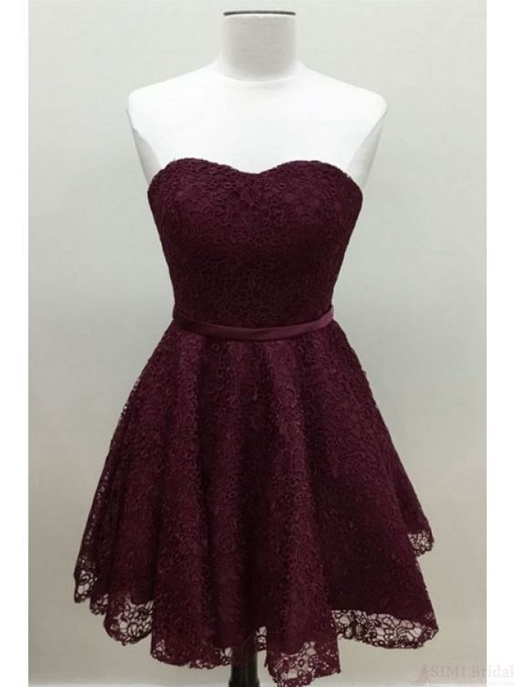 813a61f3e0e A Line Burgundy Homecoming Dresses with Lace Short Prom Dresses Cocktail  Dresses