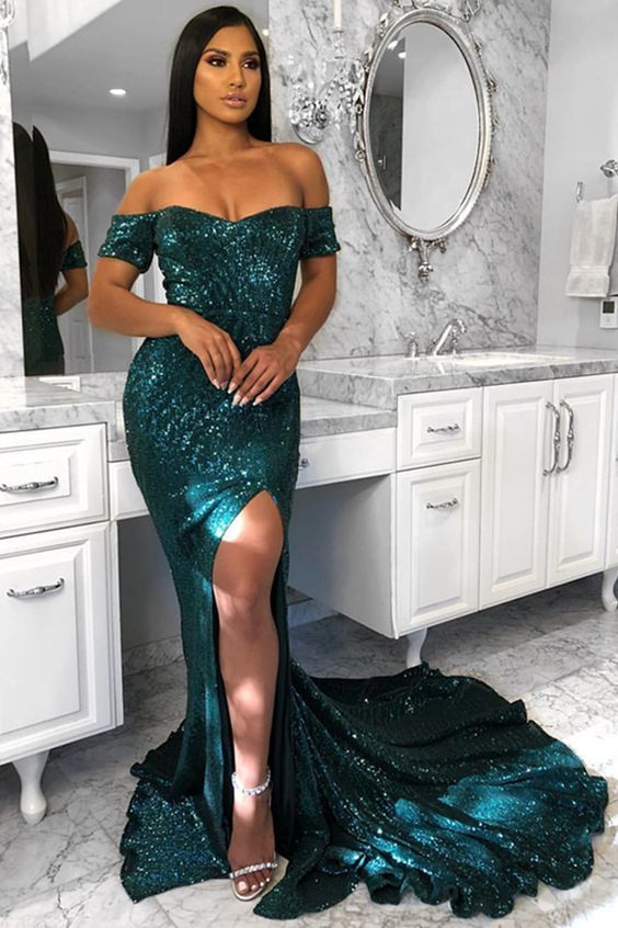 2e0ac8d93a7b by Miss Zhu Bridal. Mermaid Off-the-Shoulder Sweep Train Dark Green Prom  Dress with Split