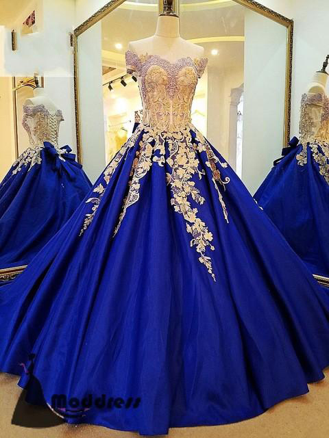 Royal Blue Prom Gown,Applique Prom Dress,Off by prom dresses on Zibbet