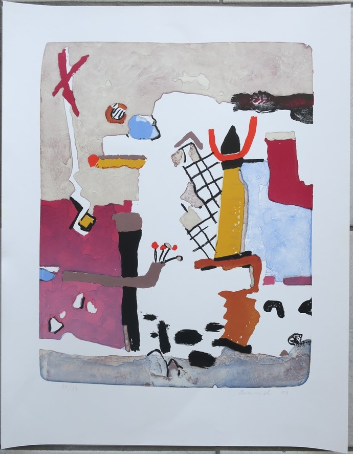 Yellow Totem lithograph limited signed edition Vaclav Benedikt 28/87