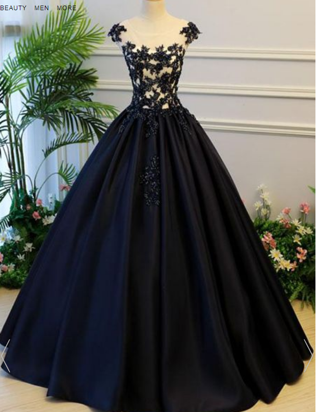 Black Sheer Round Neck Lace Appliqués Satin Princess Ball Gown, Prom Dress,