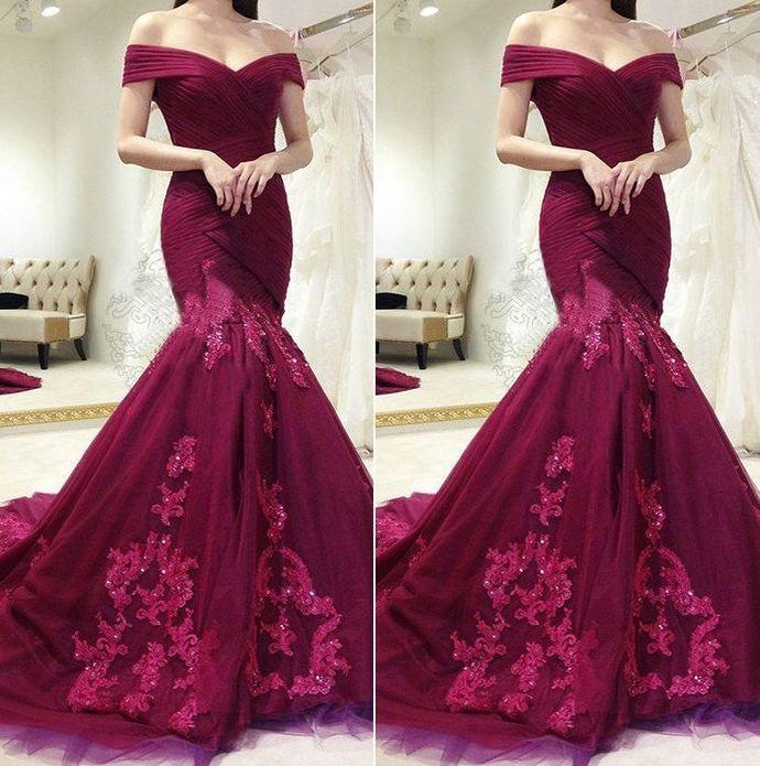 f817ff6ad9 charming lace appliques burgundy off shoulder mermaid formal long prom dress