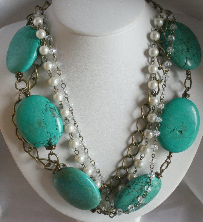 Chunky Turquoise Magnesite Cowgirl Statement Necklace, Bold Rustic Country