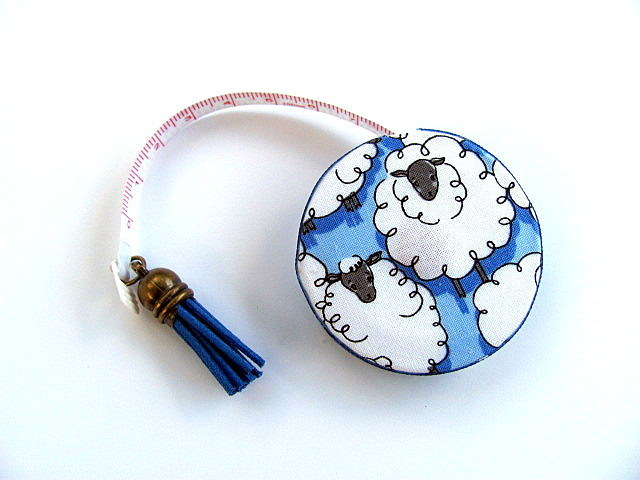 Measuring Tape Sheep on Blue  Retractable Tape Measure