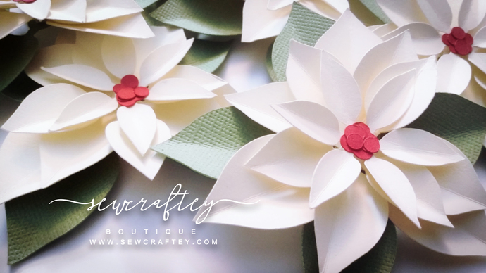 Poinsettia paper flowers cream paper by sewcraftey on zibbet poinsettia paper flowers cream paper dimensional flowers wedding flowers mightylinksfo