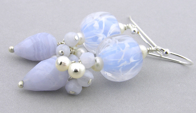 Frosty Blue Earrings - blue lace agate, artisan lampwork, sterling silver,