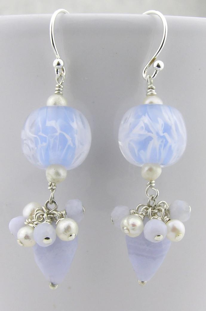 Frosty Blue Earrings - blue lace agate, artisan lampwork, sterling silver,
