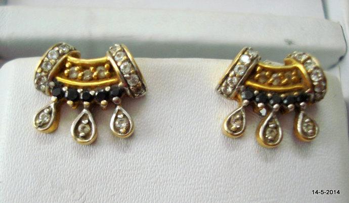 vintage 20k gold earrings ear stud handmade by tribalsilver on Zibbet