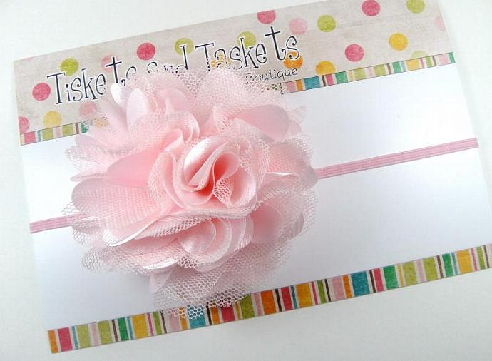 Prissy Baby Pink Satin n Tulle Puff Flower on Skinny Stretch Headband - Newborn
