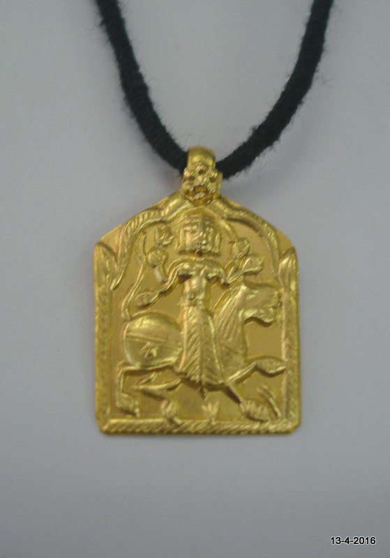 Vintage antique 23kt gold amulet pendant by tribalsilver on zibbet vintage antique 23kt gold amulet pendant necklace hindu goddess durga ma mozeypictures Image collections