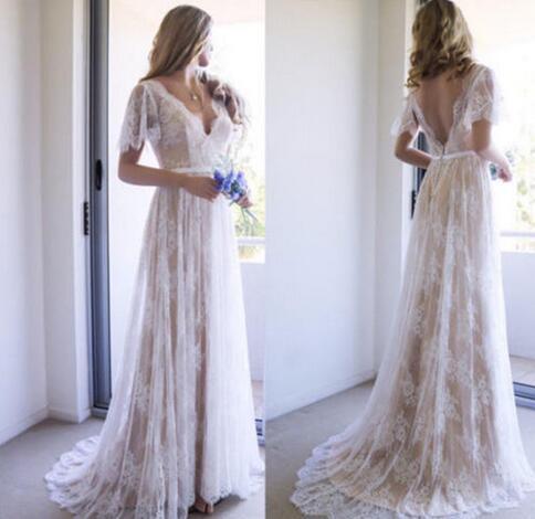 Bohemian Summer Beach Wedding Dresses Lace Spring Garden Beach Backless V Neck A