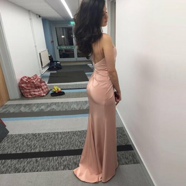 Glamorous Sheath Blush Prom Dress,V neck Spaghetti Strap Backless Evening Dress
