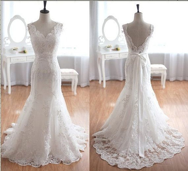 White Lace Wedding Dresses Real Made Backless Wedding Dress Floor Length Wedding Dresses With Bow Back Bridal Dresses