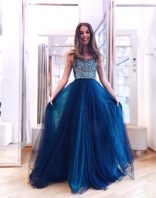 Blue Sweetheart Beaded Tulle Prom Dress,Strapless Evening Dress