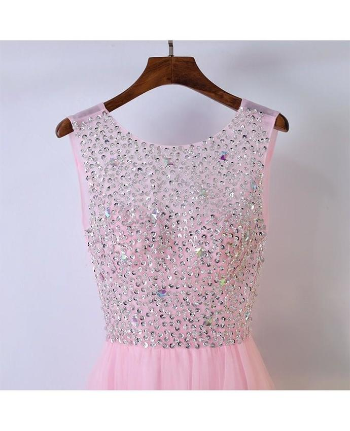 Cheap A-Line Pink Sleeveless Tulle Prom Dress with Beaded Sequins,Cute Bling