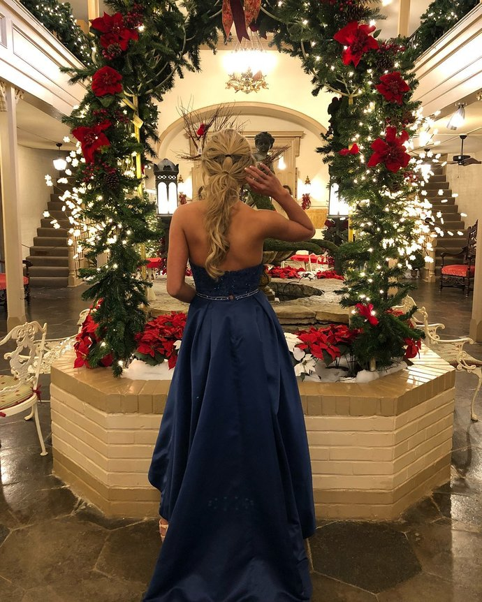 Two Piece Royal Blue Halter High Low Party Dress,Long Prom Dress