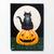 Black Cat on a Giant Pumpkin Original Cat Folk Art Acrylic Painting