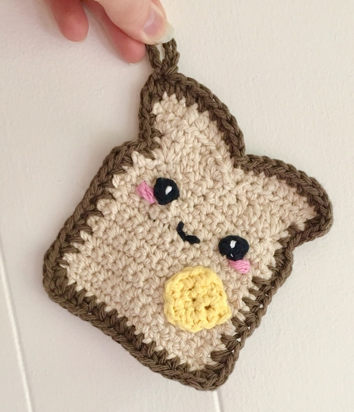 READY TO SHIP Kawaii Buttered Toast Potholder - Crocheted, Amigurumi