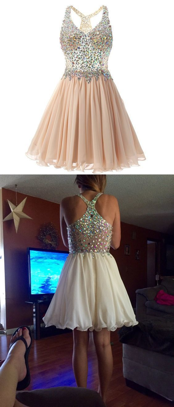 V-Neck Beading A-Line Homecoming Dresses,Short Prom Dresses,Cheap Homecoming
