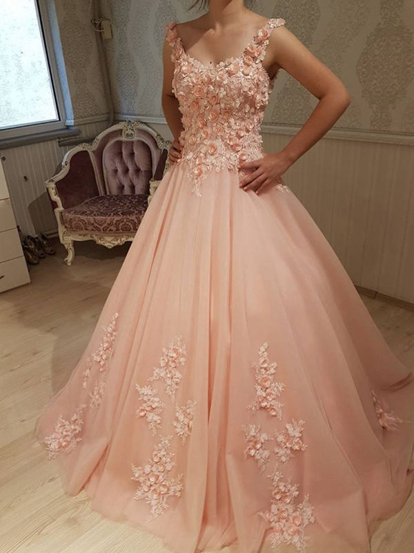 Elegant Ball Gown Scoop Sleeveless Prom Dress,Pink Long Prom Dresses,Evening