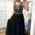 Long Black Prom Dress,Beaded Party Dress Long,Evening Formal Gowns for