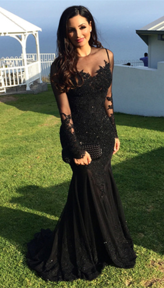 Mermaid Lace Black Beading Prom Dress,Long Prom Dresses,Charming Prom
