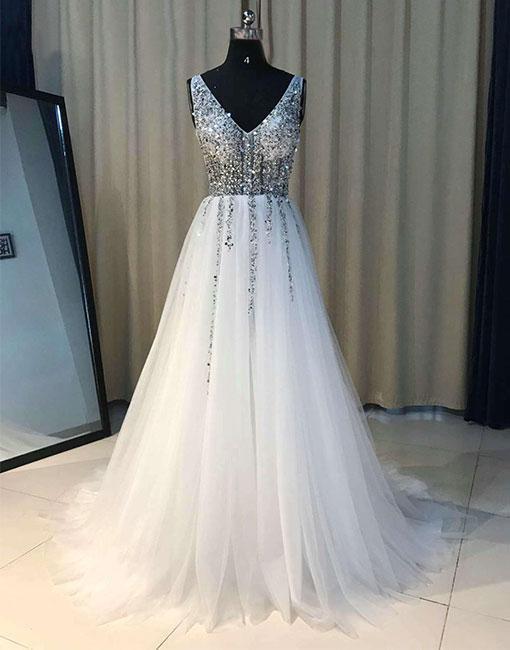V Neck White Wedding Dress with Beadings, A-line Long Wedding Dresses,Long