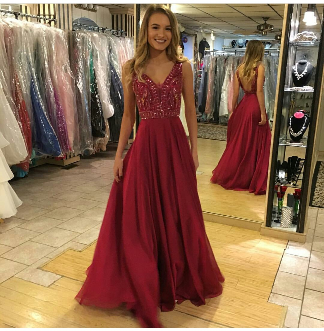Backless Dark Red Prom Dress,Long Prom Dresses,Long by ...