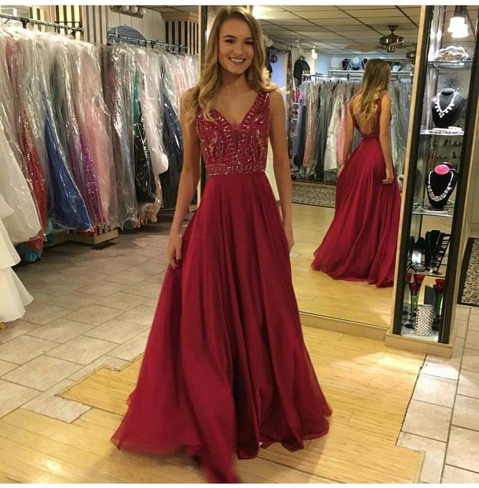 Backless Dark Red Prom Dress,Long Prom Dresses,Long Evening dresses