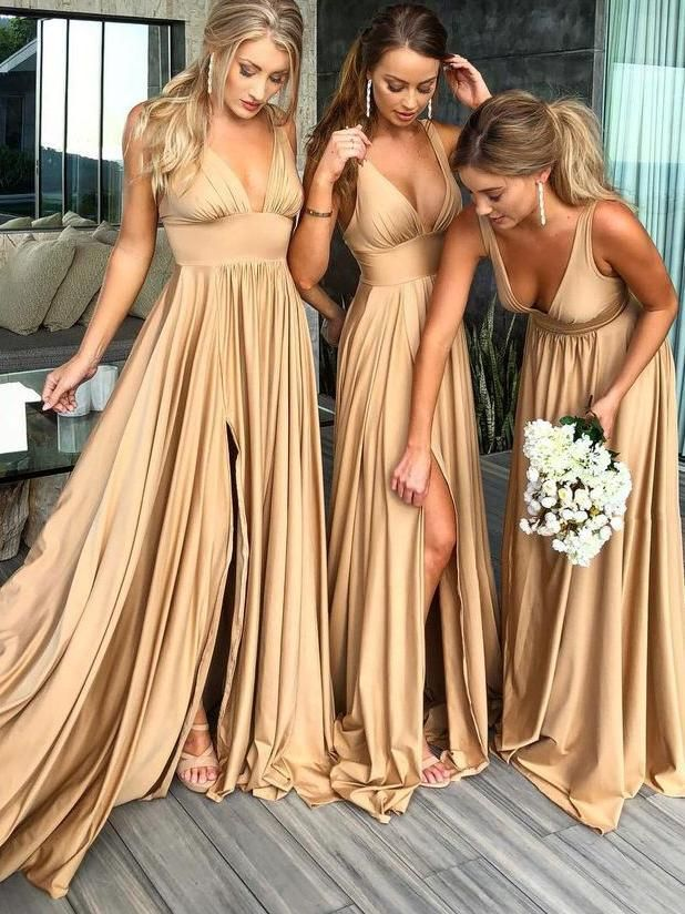 Chic Cheap Bridesmaid Dress, V-neck Long Bridesmaid Dress