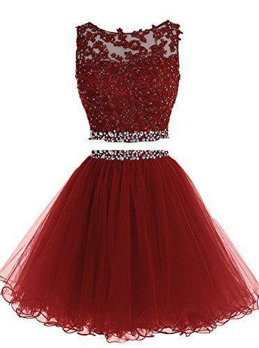 Drak Red Party Dresses,Two Pieces Graduation Dress
