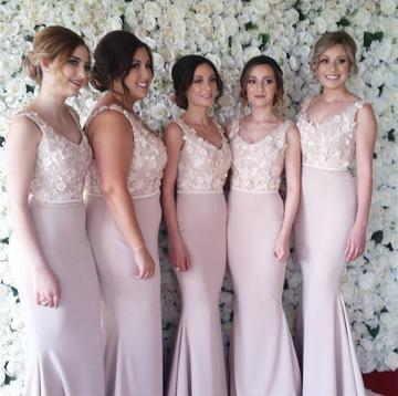 Lace Embroidery Beaded V-neck Long Satin Mermaid Bridesmaid Dresses