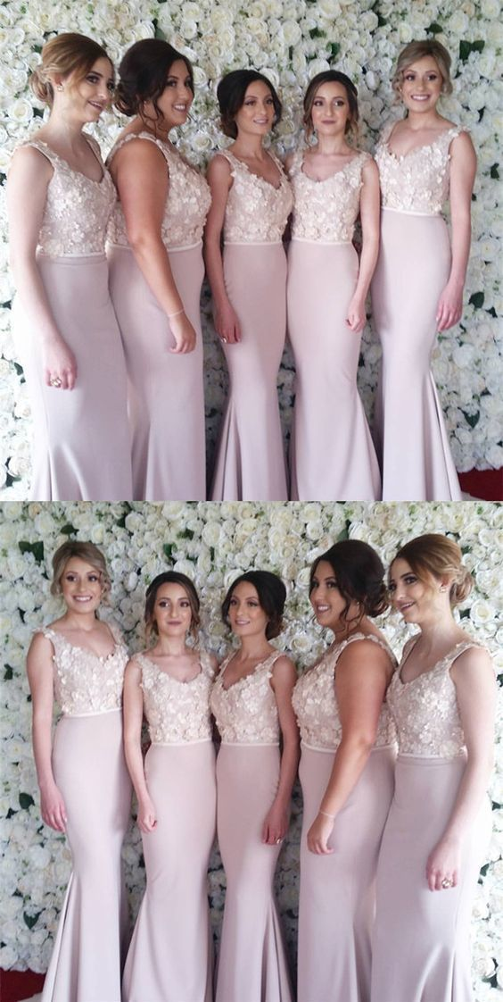 Lace Embroidery Beaded V-neck Long Satin Mermaid Bridesmaid Dresses