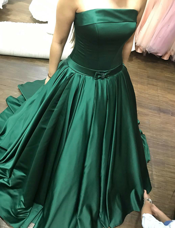 c9804048cad Strapless Emerald Green Prom Dress