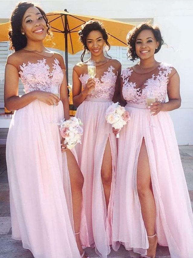 Lace Appliqued Bodice Pink Chiffon Long Bridesmaid Dresses with Slit